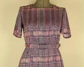 Vintage Geometric Print Silk Dress, Medium