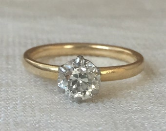 Reduced Victorian Vintage Old Mine Cut Diamond .83 carat Engagement Ring