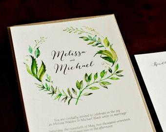 Watercolor Leaf Custom Wedding Invitation Set