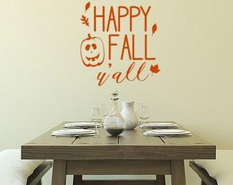 Happy Fall Y'All vinyl decal, autumn wall decor, holiday window decal, Halloween Thanksgiving decor, pumpkin decal