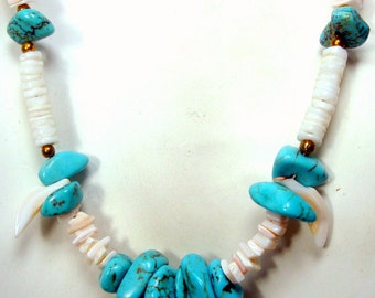 Turquoise Nugget Necklace, Native American Style Magnesite Aqua Stone n White Clam Shell Heishi,Heishe, Southwest Indian Classic Beads 1980s