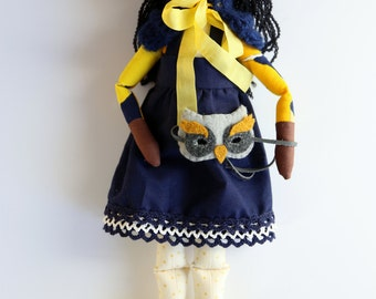 Opa - Owl Costume Handmade Heirloom Cloth Rag Knit Art Doll by the Evergreen Doll Company