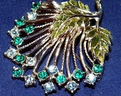 Gorgeous MJENT Designer Signed Vintage Brooch, Rhinestone Pin Scarf Clip, Sparkling Blue/Turquoise Stones VG Costume