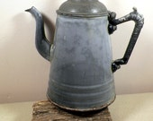 "Antique Gray Graniteware Gooseneck 10"" Enamel Coffee Pot with Wood Knob Stamped Agateware, Lalance & Grosjean Mfg Co. Primitive, Decorative"