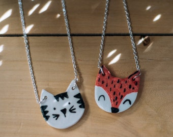 Cute fox or Cat pendant, cat ceramic pendant, nature accessories, Little fox necklace, Fox pendant. Handmade clay pendant. Ceramic