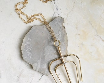 Large Brass Pendant. Long Gold Filled Chain. Long Chain Necklace. Gold Statement. Brass Pendant. Modern and Minimal.