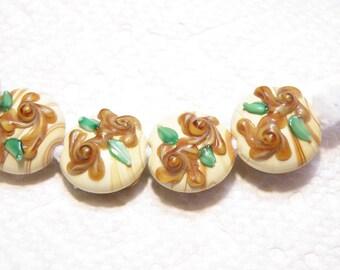 DESTASH -- Six (6) Taffy Swirl Lampwork Lentil Beads with Caramel Flower Decoration