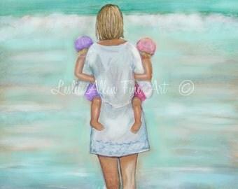 """Mother Children Twins Girls Art Print Wall Art Kids Sister Beach Mom Daughters Beach Theme Motherhood  """"Girlies Day"""" Leslie Allen Fine Art"""