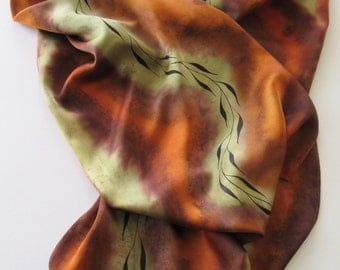Brown Silk Scarf, Hand Painted Brown Silk Scarf, Hand Painted Green Silk Scarf, Brown Sienna Silk Scarf, Large Silk Scarf, Autumn Colors