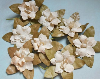 Vintage White Paper Gardenia Millinery Flowers Lot of 8