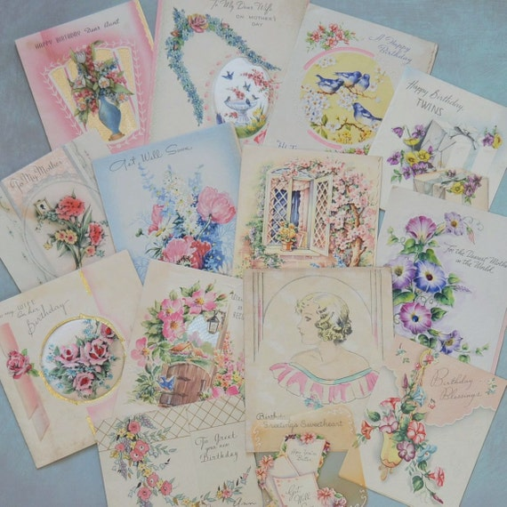 14 Vintage 1930's Greeting Card Lot Pretty By