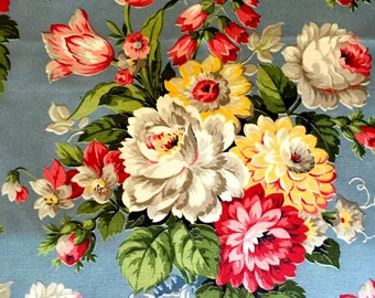 Dazzling 40s Floral Hollywood Glam Barkcloth Fabric By