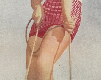 Raised Check Swimsuit Vintage Knitting Pattern 143