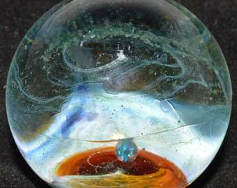 Glass Marble Encased Black Opal Planetoid Sparkly Green Stardust Galaxy - Handblown