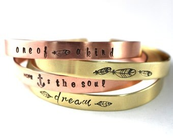 Gold Cuff, Brass Cuff, Copper Cuff, Choice Of 1, Cuff Bracelet, Custom Cuff, Dream Cuff, Anchor Cuff, Graduation Cuff, Feather Cuff Bracelet