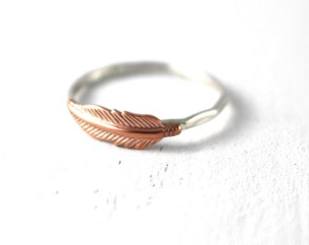 Feather Ring, Stack Ring, Stack Band, Sterling Silver, Silver Ring, Copper Feather Ring, Feather Stack Ring, Hipster Feather Ring, Boho Ring
