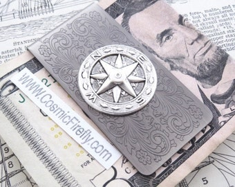 Steampunk Money Clip Compass Money Clip North South East West Antiqued Silver Plated Men's Gifts Nautical Gifts For Men Travel Gift