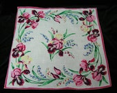 "Vintage 16"" Colorful Pink, Blue, Green, Yellow Mixed Floral Wedding Handkerchief or Doily, 9751"