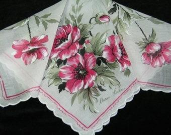 Vintage Designer Chris Fisher Scalloped Pink Poppy Floral Wedding Handkerchief or Doily, 9739