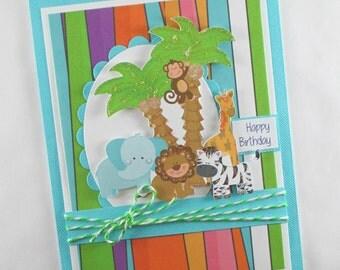 Birthday cards, safari birthday cards, 1st birthday, first birthday, boys birthday card, kids birthday cards, children's birthday cards