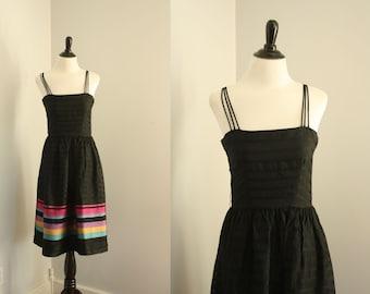 1970s dress vintage 1970s black dress xs sleeveless disco party dress sundress, Spaghetti Strap Dress in Black, Vintage 70s XS SALE