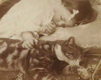 Child Sleeping with Cat - Antique Real Photo Stereoview