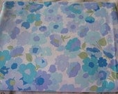 Robin's Egg Blue and Lilac Floral Vintage Sheet Double Flat Wamsutta Cotton Fabric Percale