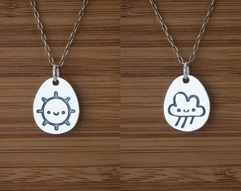 Sunshine Rain Cloud Double-Sided Pendant - STERLING SILVER - (Pendant, Necklace, or Earrings)
