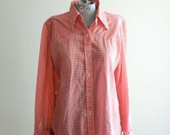Red GINGHAM check 60s / 70s picnic western shirt UNISEX sz. Medium