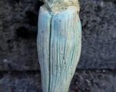 RESERVED for Sue C .Artisan made ceramic pendant - Blue Cicada - amulet - talisman