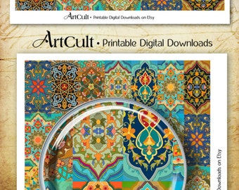 Printable Scrapbooking Paper ORIENTAL PATCHWORK RUG Moroccan Digital download Collage Sheet transfer image decoupage craft paper by Art Cult
