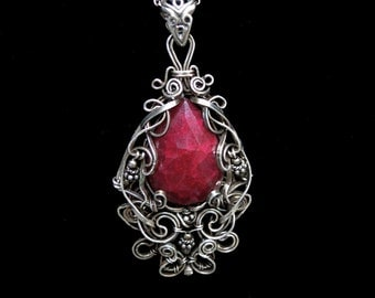 Ruby and Sterling Silver Pendant Wire Wrapped