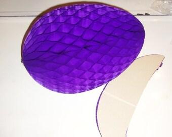 "2 Vintage Easter Egg HUGE 18"" Honeycomb Crepe Paper Danish Mod beistle PURPLE"