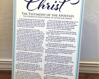 "14x22"" LDS The Living Christ Testimony Metal Aluminum Printed Sign"