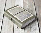 Green Leather Journal with Russian Sage Photo, Gardeners Diary, Sketchbook