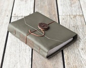 Green Leather Journal with Cermaic Button Closure, Travel Diary