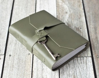 Green Leather Journal with Antique Skeleton Key
