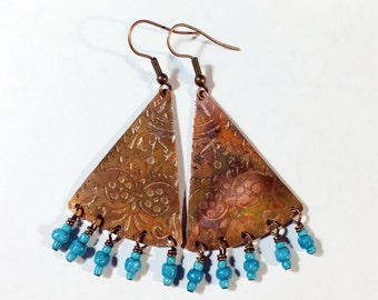 Etched Copper Fan Earrings with Dangles