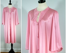 Vintage Pink Robe, Vanity Fair Mid Length Button Down Robe or Nightgown Sleepwear Lingerie Size M / L