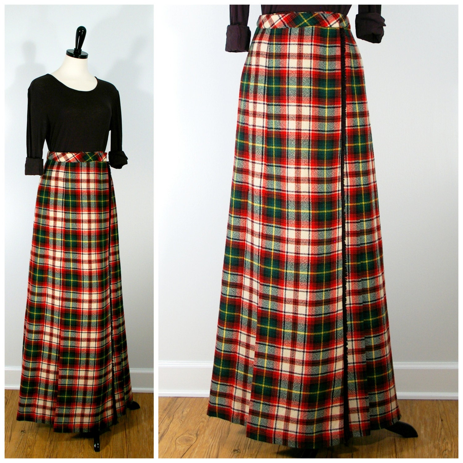 plaid maxi skirt wool wrap pleated skirt in and green