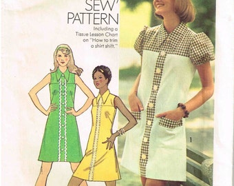 Straight Short Sleeve Dress Sewing Pattern Pointed Flat Collar Size 13 14 Teen Bust 33.5 Vintage 1970s Simplicity 6084