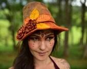 Felt Woodland Fairy Autumn Leaf Leather Flower Seamless Pixie Fedora Hat OOAK