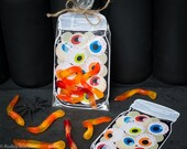 INSTANT DOWNLOAD Jar of Eyeballs gummy worm printable bag inset for halloween candy or small toys spooky weird science Halloween party favor
