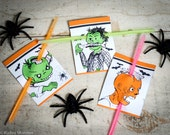 Halloween Printable non candy treats Zombie head stabbed with glow stick bracelet, pencil, etc . . . Funny gross Halloween cards easy DIY