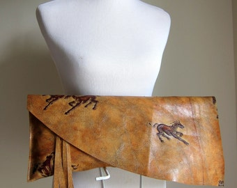 LEATHER Large Oversized Huge Clutch Bag Purse Shoulder Strap Cross Body - Raw, Rustic, Raw Edge & Fringe - Decorative Textured Leather