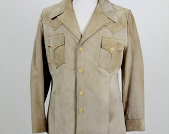 Men's Leather Jacket, Fall Jacket, Leather Suede Jacket, 80s Vintage Jacket, Robert Lewis, Western Jacket, Rockabilly Jacket, On Sale