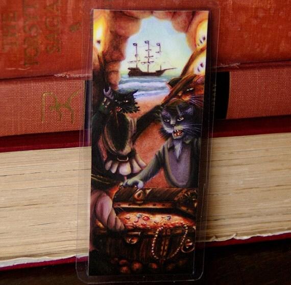 Pirate Cats Bookmark, Treasure Island Fantasy Art Paper Bookmark