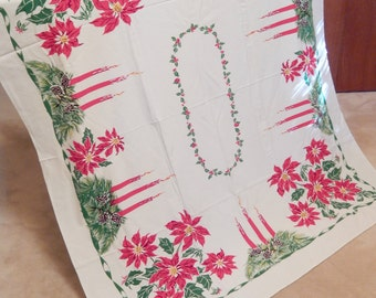 California Hand Prints tablecloth, vintage Christmas tablecloth, rectangular  64 x 54 inches, candles poinsettias, table linens