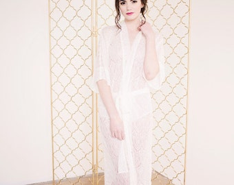 Long Lace Robe, sheer lace robe, bridal robe, lace robe, bridal lingerie - Priscilla
