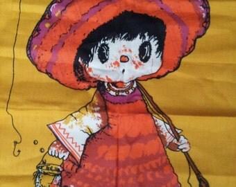 Half Price Vintage ZUCCHI Big Eyed Girl Linen Tea Towel ZUCCHI